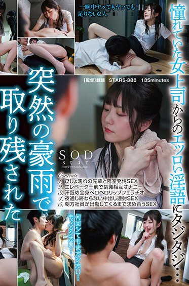 SOD Create STARS-388 Along In The Office With The Female Boss I Admire On A Night With Heavy Rain Since We Can Not Go Home We Fuck All Night Hikari Aozora